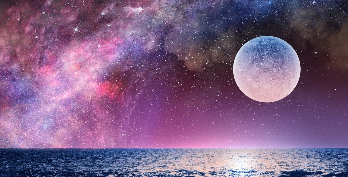 Background fantasy image with full moon in night glowing sky